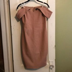 Bardot off the shoulder pink dress